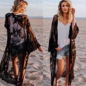 Sweaters - Black lace cover up cardigan kimono